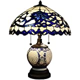 beautiful and elegant indoor flower design akiko 3light blue glass 21inch doublelit table lamp dyl451743 stained glass table lamp