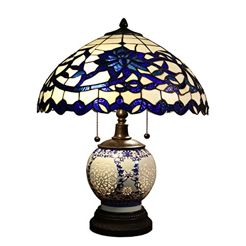 Beautiful and Elegant Indoor Flower Design Akiko 3-light Blue Glass 21-Inch Double-Lit Tiffany-Style Table Lamp - DYL451-743. Stained Glass Table Lamp. Assembly Required