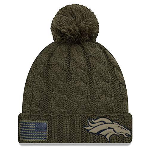 New Era Women 2018 Salute to Service Sideline Cuffed Knit Hat - Olive (Denver Broncos)