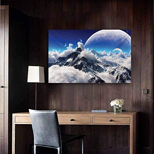duommhome Fantasy Art Oil Paintings Celestial View of Snow Capped Mountains and Transparent Alien Planet Print Canvas Prints for Home Decorations 35