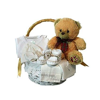 Canastilla regalo bebe - Primera Puesta Básica beige - Cesta regalo original para recien nacido