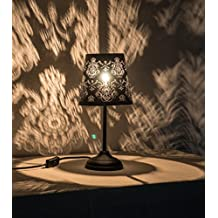 """15"""" Hollowed-out Metal Table Lamp Desk Lamp Bed Lights With Lamp Shade (Black Ornate)"""