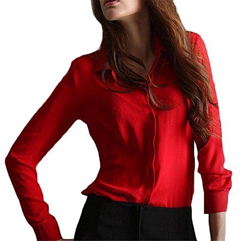 Women Blouses Solid Long-sleeve Shirt Chiffon RedUS Large