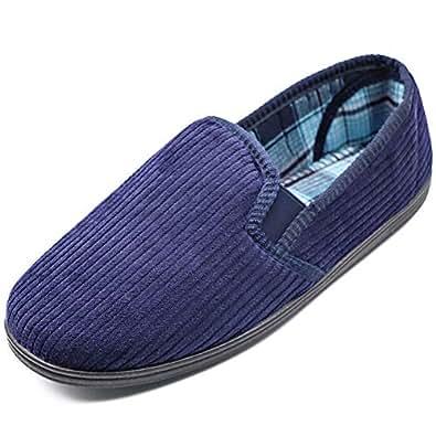 MEJORMEN Men's House Shoes Edema Diabetic Slippers Memory Foam Comfortable Cushioning Gore Footwear Moccasin Slip-on Indoor Outdoor (8 M US, Navy)