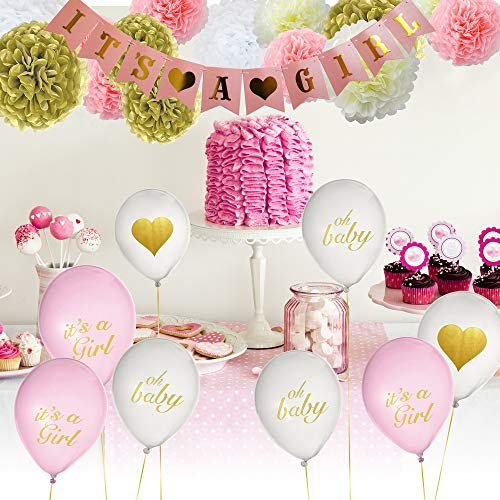 Baby Shower Decorations Decor Party Supplies for Girl – 28 Total PCS, IT'S A Girl Banner, 18 Balloons [White & Pink] w/Gold Ribbon, 8 Pom Poms [Pink, White, Gold, Cream] & Free Printable EBOOK by Peacrayo Designs