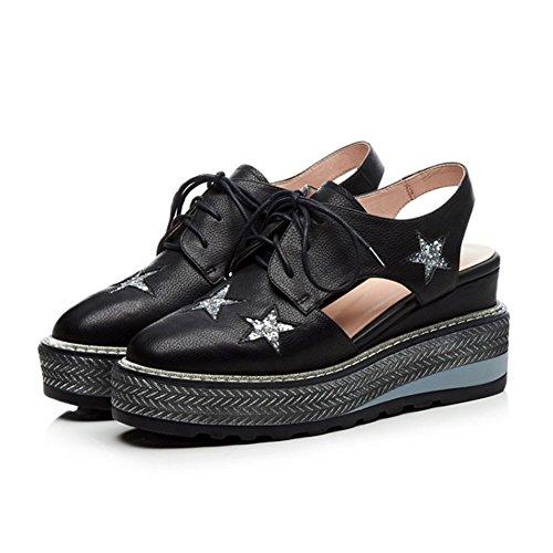 tamaño Plataforma Hueco Impermeable Mujer Talón 36 Negro Grueso Talón Cuero de Color 2018 Ocio Zapatos Femenino Sandalias de Verano zvqSnwTx