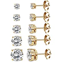 Women's 18K Gold Plated CZ Stud Earrings Simulated Diamond Round Cubic Zirconia Ear Stud Set(5 Pairs)