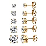 Women's 18K Gold Plated CZ Stud Earrings Simulated Diamond Round Cubic Zirconia Ear Stud Set(5 Pairs