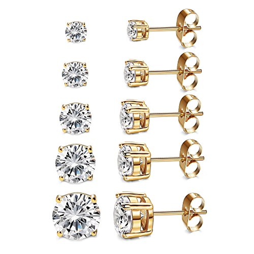 Women's Stud earing set 18K Gold Plated Round Clear Cubic Zirconia Stud Earrings (5 Pairs) (4 Prongs Style gold) (Bezel Prong 4)