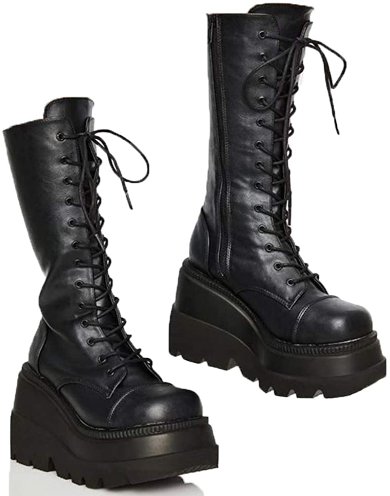 SaraIris Black Platform Boots for Women