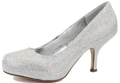 Shoefashionista Womens Silver Bridal G Scarpe Satin Sposa Party Donna Da Shimmer Style qqwrdRS