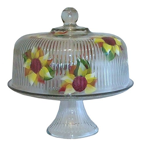(Hand Painted 2-piece Sunflower Pedestal Cake Plate with Dome Cover.)