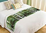 PicaqiuXzzz Custom Landscape Nature Scenery Bed Runner, Beautiful Sunrise Green Forest View from the Window Bed Runners And Scarves Bed Decoration 20x95 inch
