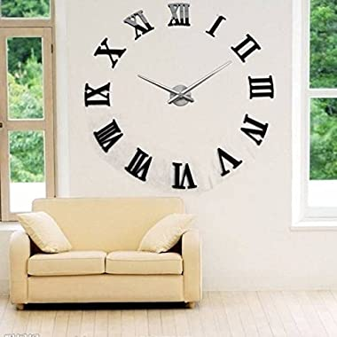 AUDEW Luxury Art Clock DIY 3D Wall Clock Roman Numerals Large Size Mirrors Surface(Black)