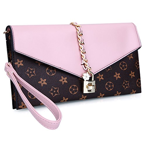 EROGE Evening Bag Women Oversized Flower Designer Evening Clutch Handbag Wristlet with Lock (Pink) ()