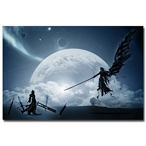 Lawrence Painting Cloud Vs Sephiroth Final Fantasy Xv Game Art Canvas Poster Print Pictures For Bedroom Living Room (Sephiroth Poster)