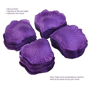 PIXNOR 1000pcs Silk Rose Petals Decorations for Wedding Party (Purple) 3