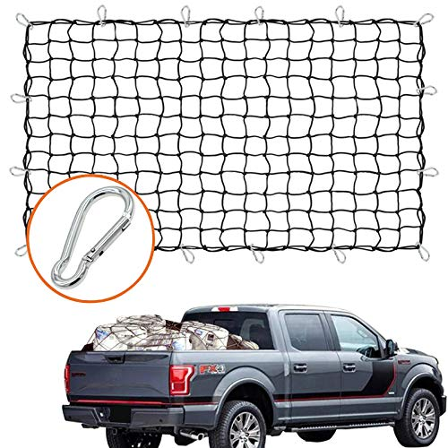 Cargo Nets for Pickup Trucks 5'x7' Heavy Duty Truck Bed Net with 16 pcs Metal Carabiners Hooks Bungee Netting Black