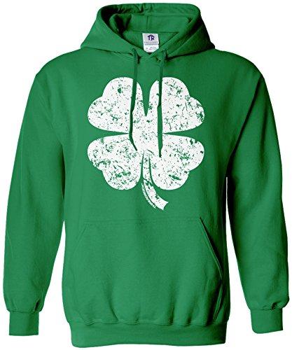 Clover Hoodie (Threadrock Men's Distressed Four Leaf Clover Hoodie Sweatshirt L Kelly)