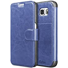 Taken Galaxy S6 Case-Fashion Elegant Matte Folio Magnetic Flip Shockproof Premium PU Leather Wallet Case Cover with Credit/ID Card Slots for Samsung Galaxy S6, Blue