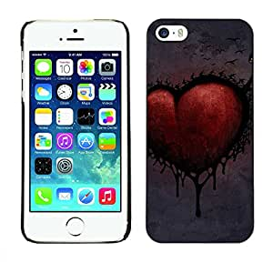 Exotic-Star ( Love Goth Heart Dark ) Snap On Hard Protective Case For Apple iPhone 5 / 5S