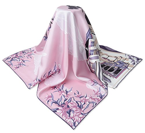 """corciova 35"""" 14 Timmy Twill 100% Real Mulberry Silk Square Women Scarfs Scarves Classic Rose Lavender Purple Street Scenery Patterns"""