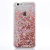 iPhone 6Plus Case, TIPFLY iPhone 6sPlus Liquid Glitter Case, 3D Creative Design Shiny Quicksand Flowing Bling Glitter Sparkle Heart Clear Hard Case for Apple iPhone 6Plus/6sPlus - Pink Diamonds