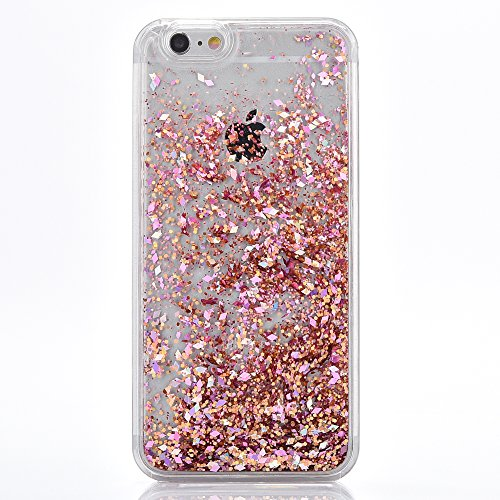 iPhone 5 Case, TIPFLY iPhone SE Liquid Glitter Case, 3D Creative Design Shiny Quicksand Flowing Bling Glitter Sparkle Heart Clear Hard Case for Apple iPhone 5/5s/SE - Pink Diamonds