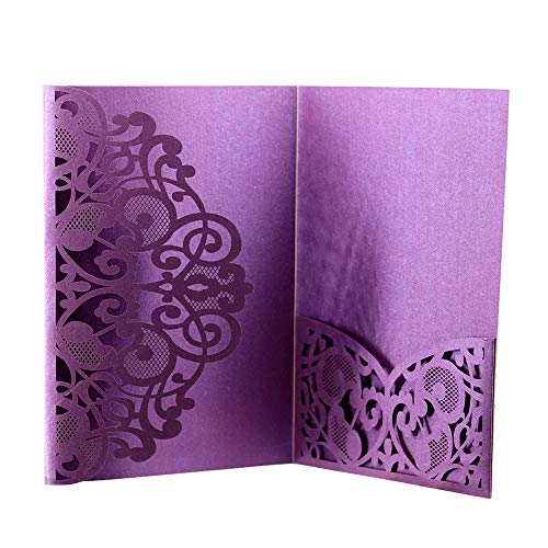 Wedding Invitation Cards,10pcs Laser Cut Floral Design Invites Pocket for Bridal Showers, Engagement Parties, Includes Covers, Blank Inserts (Purple)