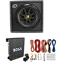 New KICKER 10VC124 12 300W Car Audio Subwoofer +Sub Box +Boss Mono Amp +Amp Kit
