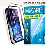 """MiiKARE Screen Protector Compatible with iPhone Xs MAX 6.5"""", Tempered Glass Screen Protector 2.5D 9H Case-Friendlly HD-Clear with Applicator [2 Pack] (Slight Space on Edges for Case)"""