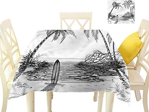 - Davishouse Flow Spillproof Fabric Tablecloth Coconut Tree and Longboard Indoor Outdoor Camping Picnic W50 x L50