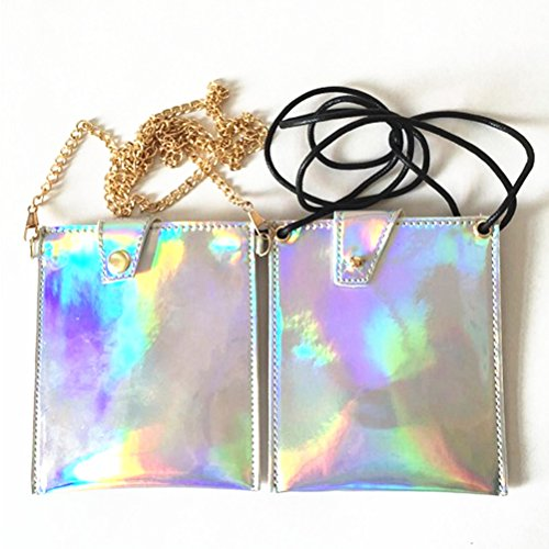 Bag Handbag Size S Women for Evening Hologram with Wallet Leather Purse Clutch Rope Bag Crossbody Holographic Tinksky Clutch gift UITYpw