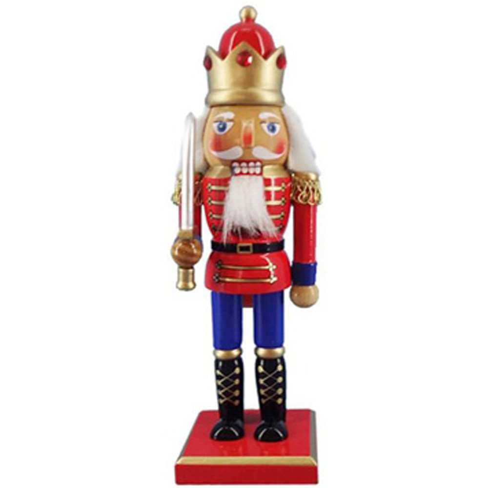 Christmas Holiday Wooden Nutcracker Figure Soldier King with Traditional Red, White, and Blue Uniform and Sparkle Rhinestone Details, Large, 10 Inch, Exclusive