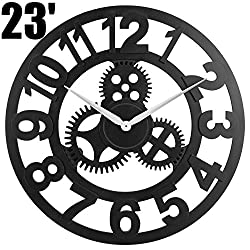 23 inch Noiseless Silent Gear Wall Clock - Large 3D Retro Rustic Country Decorative Luxury Art Big Wooden Vintage for House Warming Gift, (Number-Black)