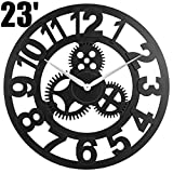 23' inch Noiseless Silent Gear Wall Clock - Large 3D Retro Rustic Country Decorative Luxury Art Big Wooden Vintage for House Warming Gift, (Number-Black)