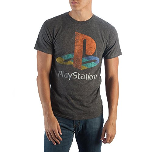 Sony Playstation Classic Logo Tee, PS1 PS2 Gaming Console, Rough Weathered Style on Charcoal T-Shirt