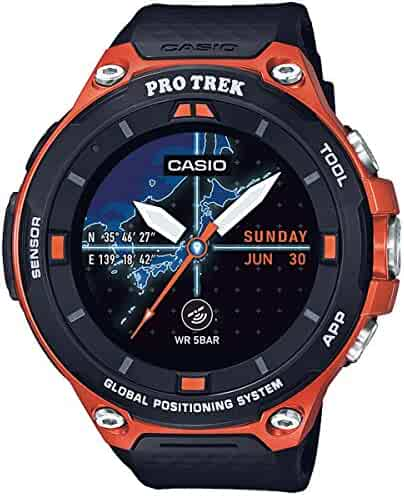 Casio Men's 'PRO TREK' Quartz Resin Outdoor Smartwatch, Color Orange (Model: WSD-F20-RGBAU)