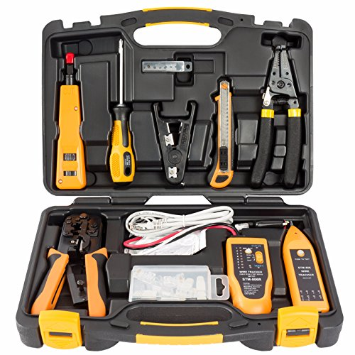 InstallerParts 15 Piece Network Installation Tool Kit - Includes LAN Data Tester, RJ11/45 Crimper, 66 110 Punch Down, 20-30 Gauge Wire Stripper, Utility Knife, 2 in 1 Screwdriver, and Hard ()