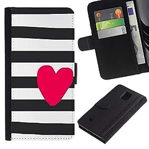 Billetera de Cuero Caso Titular de la tarjeta Carcasa Funda para Samsung Galaxy Note 4 SM-N910 / Prison White Black Purple Lines / STRONG