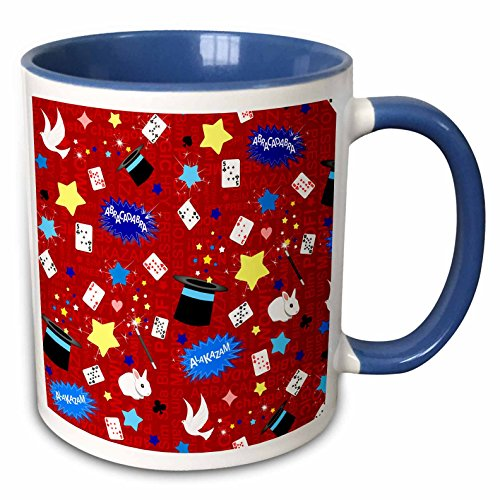 (3dRose InspirationzStore patterns - Red Magician Pattern - magic hat cards stars rabbits and magical wands - 15oz Two-Tone Blue Mug (mug_193778_11))