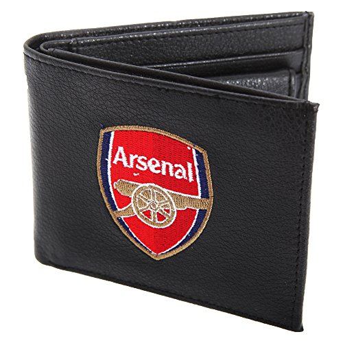 Arsenal FC Mens Official Leather Wallet With Embroidered Football Crest (One Size) (Black)