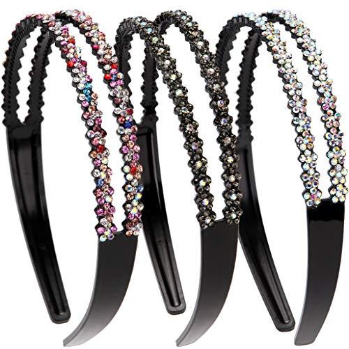 LONEEDY 3 Pack Fashion Rhinestone and Crystal Hard Headbands,Double Row Non-slip Teeth Hairband for Women (Color+Gray+Silver)