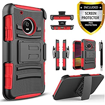 moto x4 case. moto x4 case, circlemalls dual layers [combo holster] and built-in kickstand bundled with [premium screen protector] hybird shockproof touch pen case