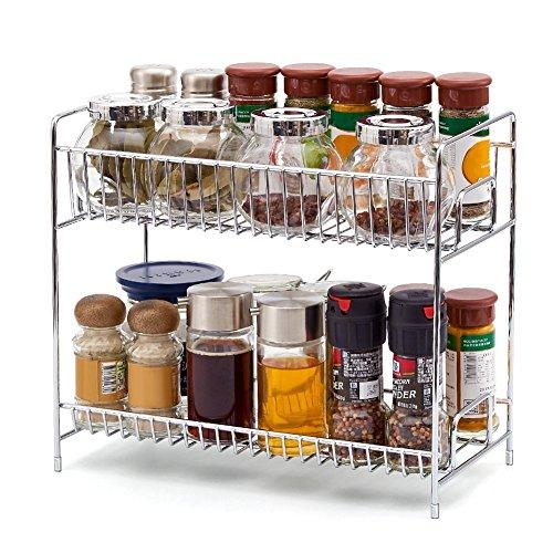 2 Niveles Estanteria, EZOWare Cocina Bano Estante Especiero de Pie Libre Encimera Organizador Multiuso para Especias/Hierbas, Condimentos, Jabones, Botelas, Frascos - Cromo