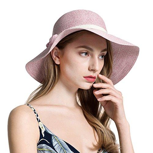 Qiqidedian Pink Mujeres Golpe Manera Solar La Sol Color Las Hembra color Verano Protección De Femenino Pink Sombreros Paja R16Tz