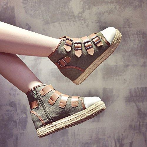 Hebilla Gruesa Y Hebilla de Cinturón Dentro Del Aumento de Zapatos Individuales Zapatos de Mujer con Cremallera Lateral Zapatos Altos , verde , EUR37