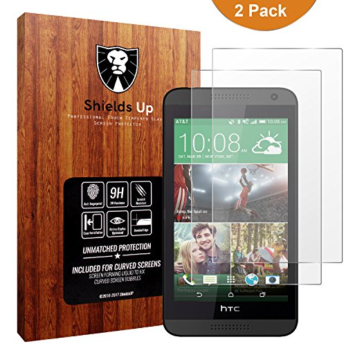 610 Screen Protector,Shields Up Bubble Free,0.3mm 9H Hardness Tempered Glass Screen Protector For HTC Desire 610- Lifetime Replacement Warranty ()