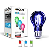 low blue night light bulb - ANYQOO LED Holiday Lamps Dimmable Filament Christmas Nightlights Clear Glass Lights Up A19 Edison Energy Saving Stained Glass Light Bulb Incandescent 3.5w for Nightclub Party Light (Blue-1 Pack)