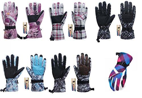 ICOLOR Snowboard Gloves Winter Warm Ski Golve for Outdoor Sports Skiing Sledding Warm Windproof Bicycle Cycling Snow Snowboarding Snowmobile Golve